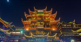 Old Town Yuyuan District At Night , Shanghai China