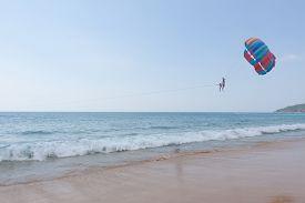 Parasailing Above The Blue Sea At Phuket Thailand