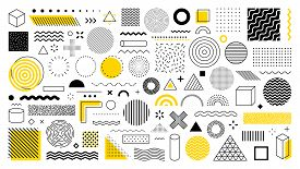 Set Of 100 Geometric Shapes. Memphis Design, Retro Elements For Web, Vintage, Advertisement, Commerc