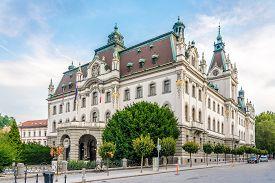Ljubljana,slovenia - September 1,2019 - View At The University Building In Ljubljana. Ljubljana Is T