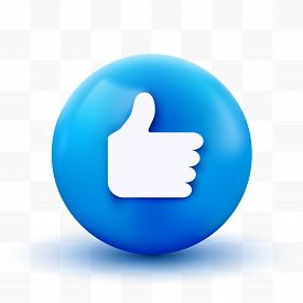 3d Thumb Up Ball Sign Emoticon Icon Design For Social Network. Modern Like Emoji.