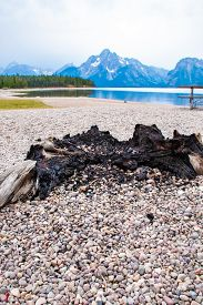 A Fire Pit On The Jackson Lake Swim Beach In Colter Bay Village In Grand Teton National Park Wyoming