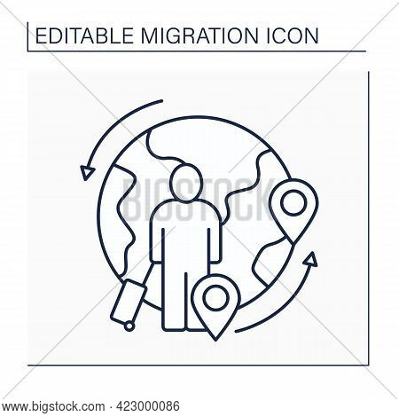 Circular Migration Line Icon. Multiple Immigration.temporary And Usually Repetitive Worker Movement.