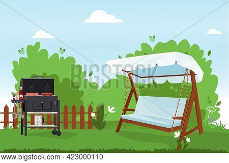 Patio Flat Vector Illustration. Backyard Of The House With Bbq, Green Lawn, Trees And Bushes. Verand