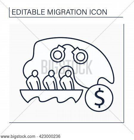 Migrants Smuggling Line Icon. Irregular Entry Into Country. Human Trafficking. Migration Concept. Is