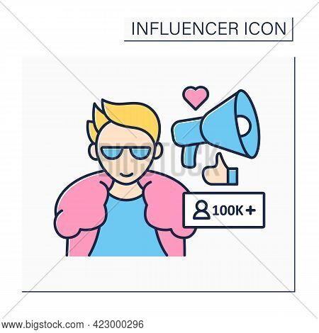 Macro Influencer Color Icon. Blogger With One Hundred Thousand Plus Subscribes. High Influence On Pe