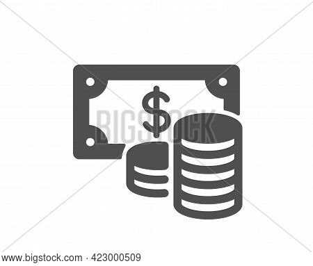 Coins Banknote Simple Icon. Cash Money Sign. Business Income Symbol. Classic Flat Style. Quality Des