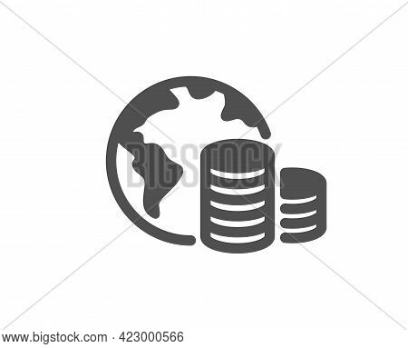 World Budget Simple Icon. Internet Financial Trade Sign. Global Economy Symbol. Classic Flat Style.