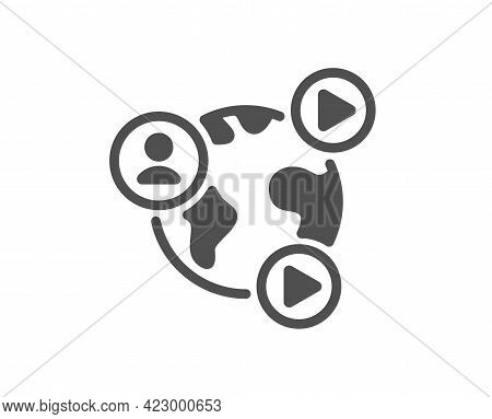 Virtual Conference Simple Icon. Online Training Sign. Web Presentation Symbol. Classic Flat Style. Q