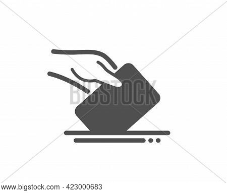 Vote Box Simple Icon. Hand With Voting Ballot Sign. Public Election Symbol. Classic Flat Style. Qual