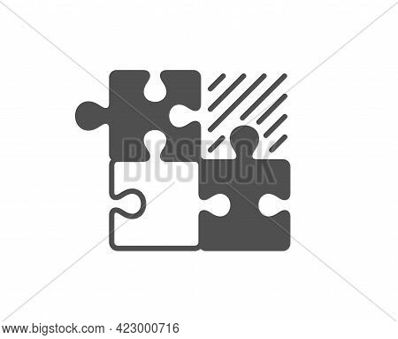 Puzzle Game Simple Icon. Decide Jigsaw Sign. Business Strategy Combination Symbol. Classic Flat Styl