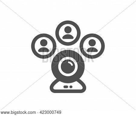 Video Conference Simple Icon. Online Meeting Sign. Web Camera Symbol. Classic Flat Style. Quality De