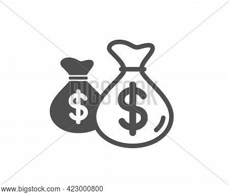 Coins Bags Simple Icon. Cash Money Sign. Income Savings Symbol. Classic Flat Style. Quality Design E