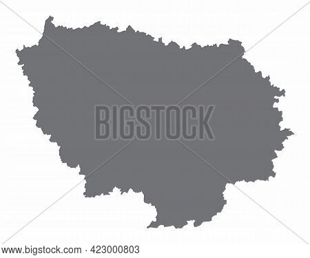 Ile-de-france Silhouette Map Isolated On White Background