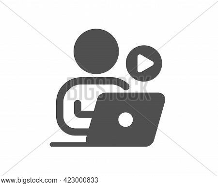 Video Conference Simple Icon. Online Training Sign. Start Presentation Symbol. Classic Flat Style. Q