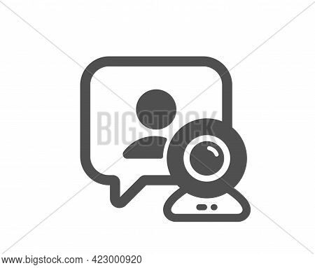 Video Conference Simple Icon. Online Training Sign. Web Presentation Symbol. Classic Flat Style. Qua