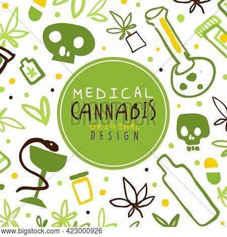 Medical Cannabis Banner, Poster Template With Hemp Products, Green Ganja Seamless Pattern Vector Ill