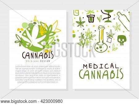 Medical Cannabis Card Templates Set, Natural Hemp Products, Green Ganja Tag, Card, Brochure Template