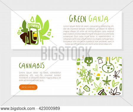 Medical Cannabis Landing Page Template, Hemp Products, Green Ganja Web Banner. Flyer With Text Vecto