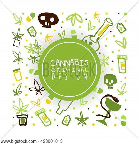 Cannabis Banner, Poster Template With Hemp Products, Green Ganja Seamless Pattern Vector Illustratio