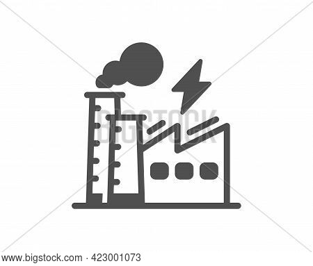 Electricity Factory Simple Icon. Electric Energy Power Type Sign. Lightning Bolt Symbol. Classic Fla