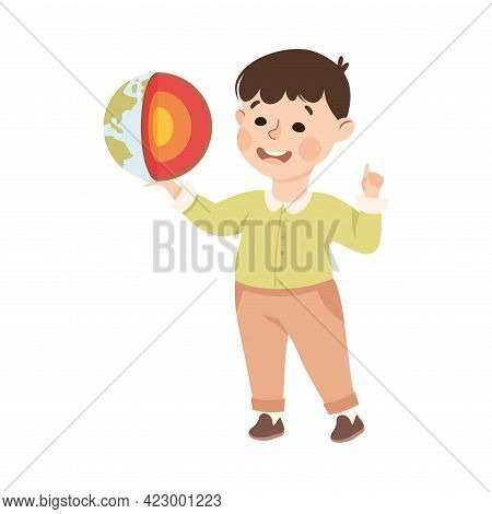 Cute Boy Having Geography Lesson, Elementary School Student Learning Earth Structure, Kids Education