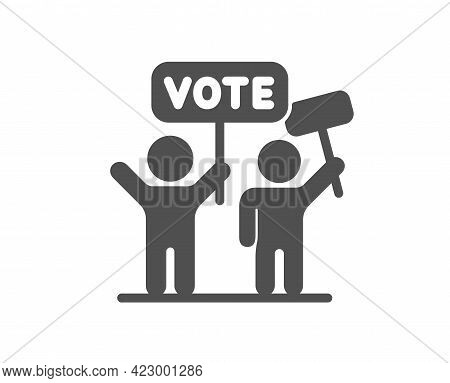 Voting Campaign Simple Icon. People Rally With Signs. Public Election Symbol. Classic Flat Style. Qu
