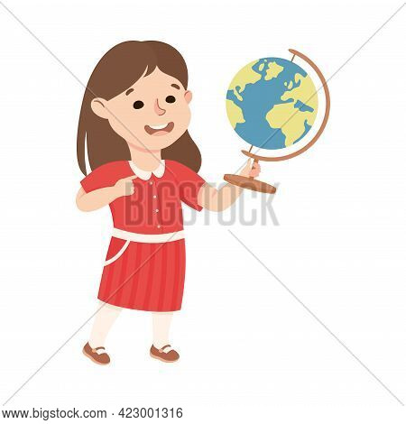 Cute Girl Having Geography Lesson, Elementary School Student Standing With Globe, Kids Education Con