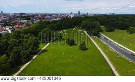 Famous Landmark In The City Of Munich - The English Garden - Drone Photography