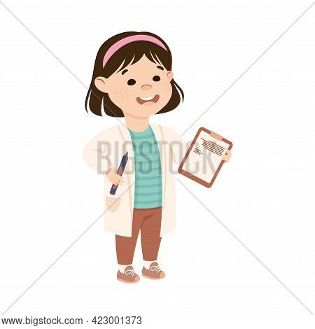 Cute Girl Having Chemistry Lesson, Elementary School Student At Learning Process, Kids Education Con