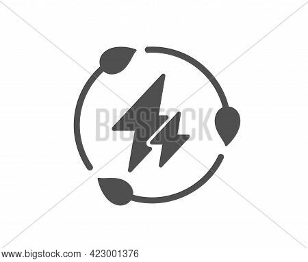 Green Electricity Simple Icon. Leaf Energy Power Sign. Lightning Bolt Symbol. Classic Flat Style. Qu