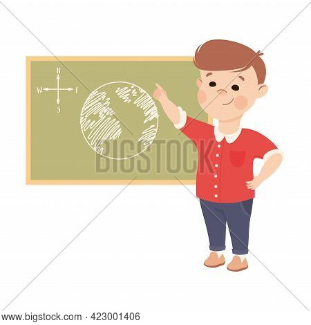 Cute Boy Having Geography Lesson, Elementary School Student Standing At Blackboard With Map, Kids Ed
