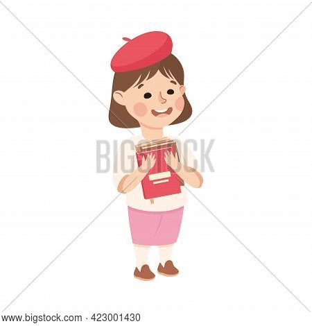 Cute Girl Elementary School Student Standing With Book, Kids Education Concept Cartoon Vector Illust