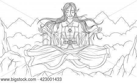 Vector Illustration, Beautiful Girl Elf Meditates High In The Mountains, Soars Above The Clouds, Col