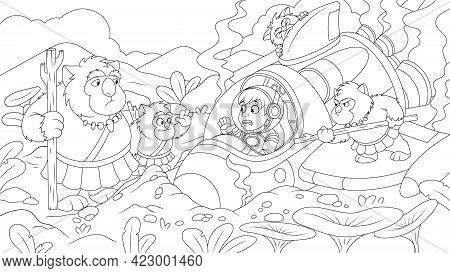 Vector Illustration, Traveler Young Cosmonaut Crashed On An Alien Planet, Rocket Breakdown, Meeting