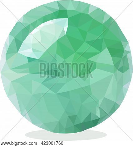 A Ball With Green Highlights Made Of Triangles