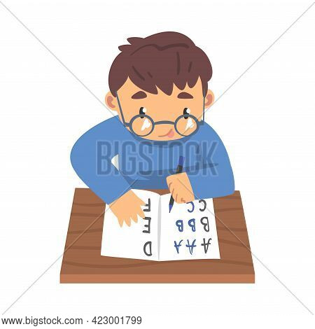 Cute Boy Learning To Write, Elementary School Student Writing English Letters In Notebook Cartoon Ve