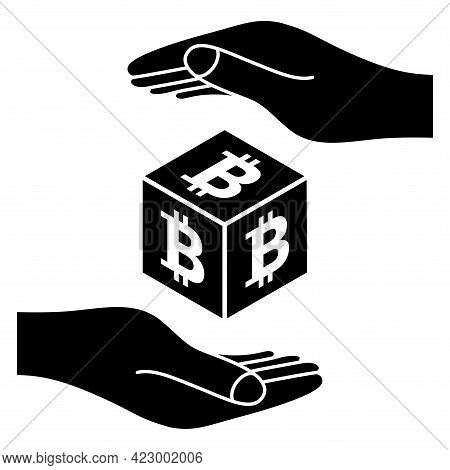 Two Hands With Bitcoin Coin. Save Money Concept. Crypto Currency Coin Bitcoin Symbol. Cryptocurrency