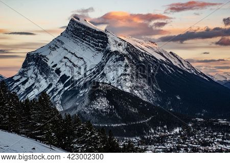 Mount Rundle And Banff In Alberta Canada As Seen From Mount Norquay