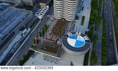 Bmw Headquarter In Munich - Aerial View - Drone Photography - Munich, Germany - June 03, 2021