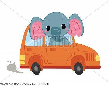 Elephant Driver Rides In Cartoon Cute Orange Car. Vector Illustration In Cartoon Children S Style. I