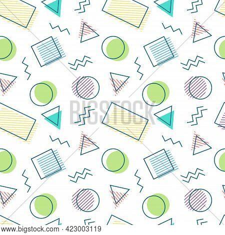 Colorful Memphis Seamless Pattern On White Background. Retro Vintage Fashion Style. Geometric Design