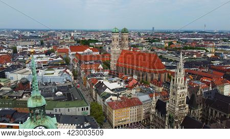 Most Famous Church In Munich - The Frauenkirche Cathedral In The Historic District - Aerial View - D