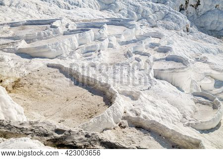 Close View Onto Famous Travertines Of Pamukkale, Turkey. Structure Called Terraces Though They May S