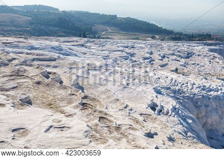 Panoramic View Onto Famous Travertine Terraces Of Pamukkale, Turkey. These Ones Without Water. This