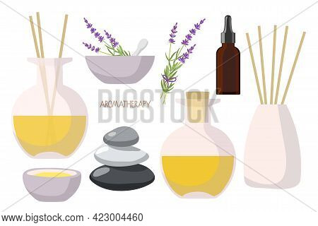 Lavender Set. Aroma Diffusers, Yellow Essential Oil In Bottle, Lavender Plant, Balance Stones, Morta