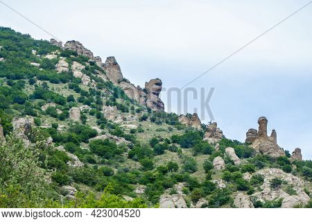 Slopes Of Mountains In Valley Of Ghosts. Because Of Weathering They Took Into Strange Shapes. Rock N