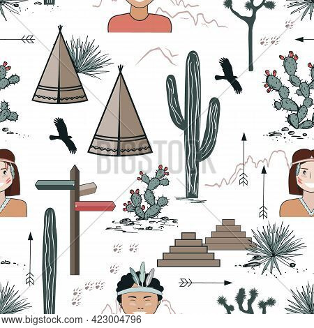 Seamless Pattern With Kids In Native Indian Headbands, Tepee, And Cacti. Saguaro, Opuntia, And Wigwa