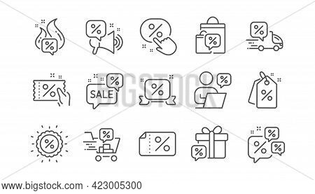 Discounts Line Icons. Sale Coupon, Promotion Offer Sign, Discount Price Tag. Wholesale Store Market