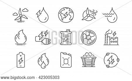 Energy Types Line Icons. Coal Trolley And Hydroelectric Power Icons. Sustainable Electricity, Batter